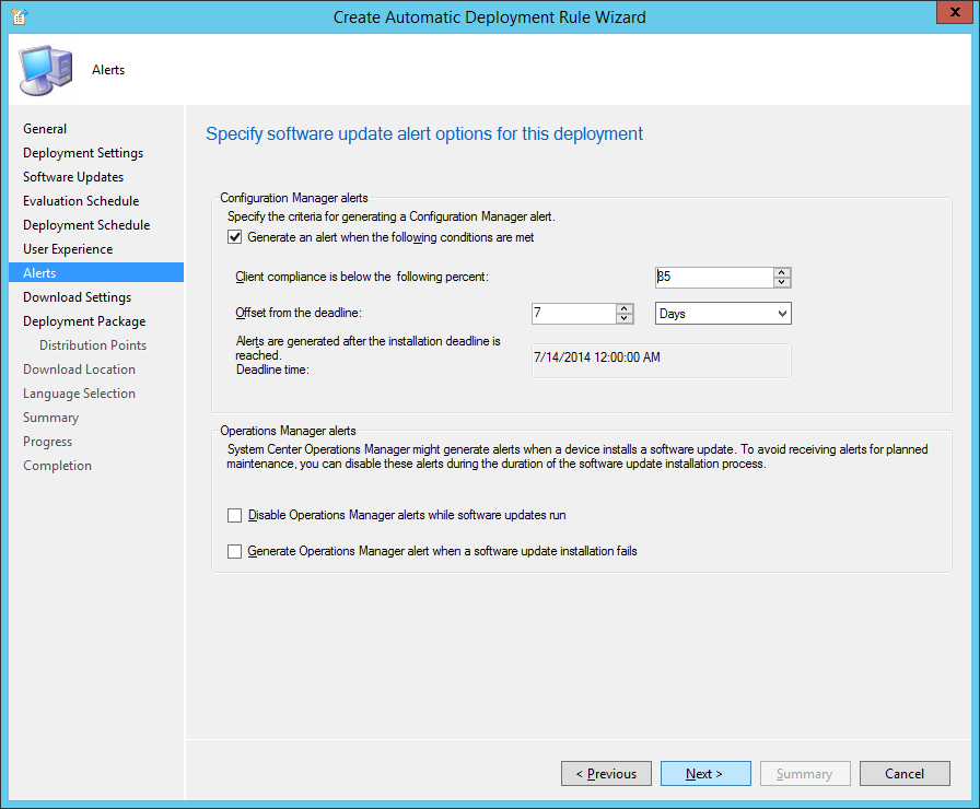 System Center 2012 R2 Configuration Manager - Create Automatic Deployment Rule Wizard - Endpoint Protection - Alerts