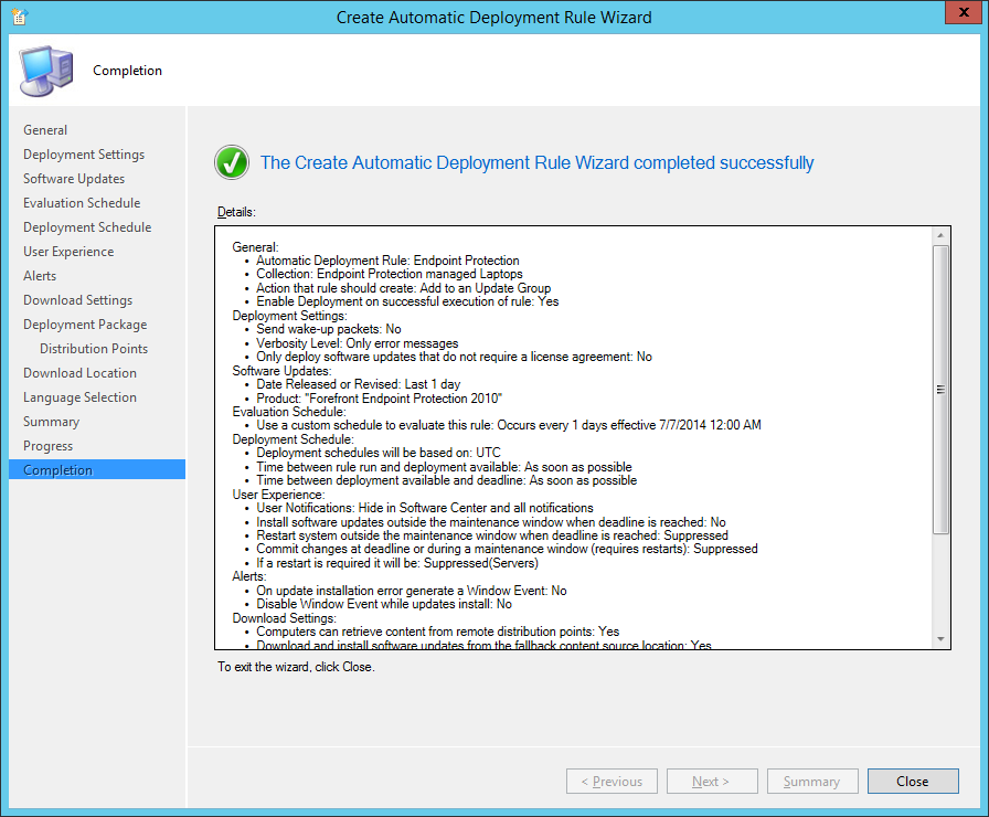 System Center 2012 R2 Configuration Manager - Create Automatic Deployment Rule Wizard - Endpoint Protection - Completion