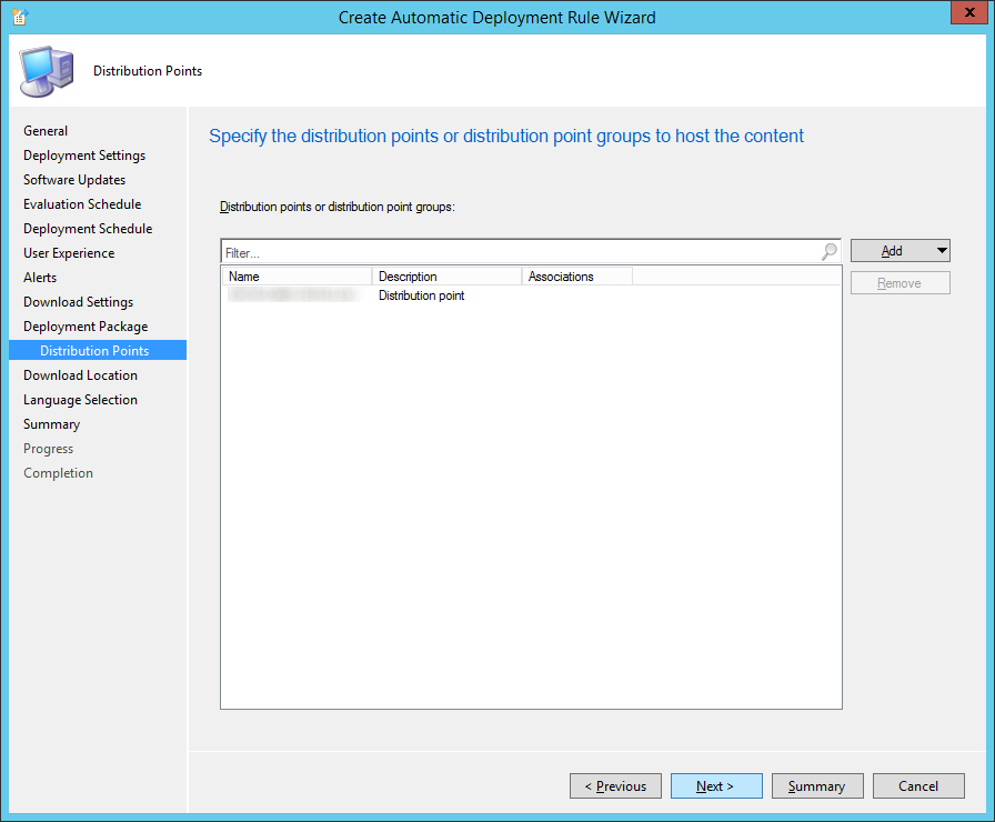 System Center 2012 R2 Configuration Manager - Create Automatic Deployment Rule Wizard - Endpoint Protection - Deployment Package - Distribution Points - Added