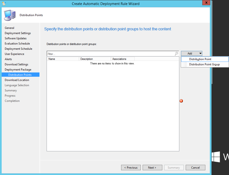 System Center 2012 R2 Configuration Manager - Create Automatic Deployment Rule Wizard - Endpoint Protection - Deployment Package - Distribution Points