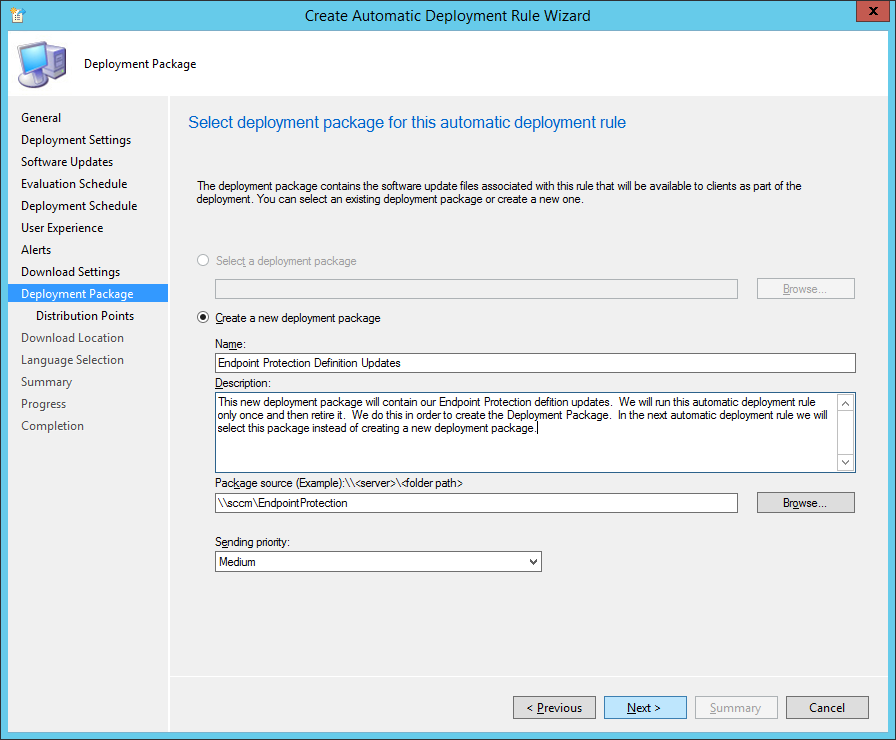 System Center 2012 R2 Configuration Manager - Create Automatic Deployment Rule Wizard - Endpoint Protection - Deployment Package