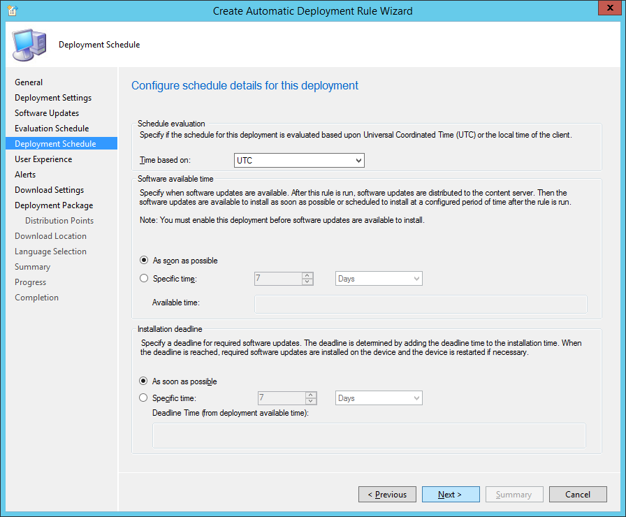 System Center 2012 R2 Configuration Manager - Create Automatic Deployment Rule Wizard - Endpoint Protection - Deployment Schedule