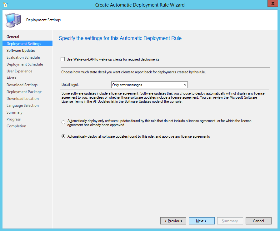 System Center 2012 R2 Configuration Manager - Create Automatic Deployment Rule Wizard - Endpoint Protection - Deployment Settings