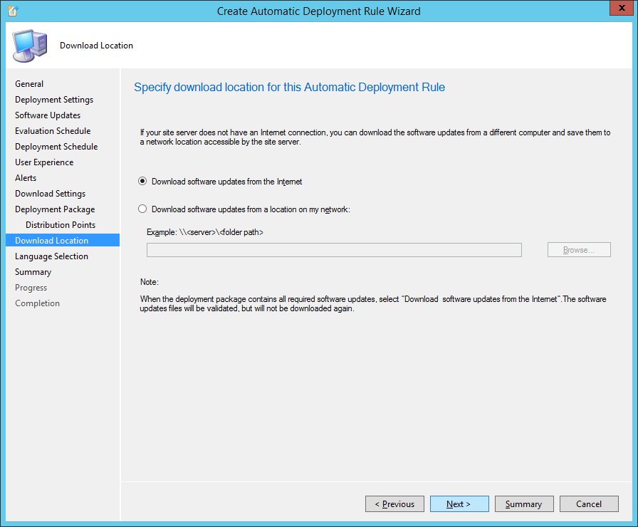 System Center 2012 R2 Configuration Manager - Create Automatic Deployment Rule Wizard - Endpoint Protection - Download Location