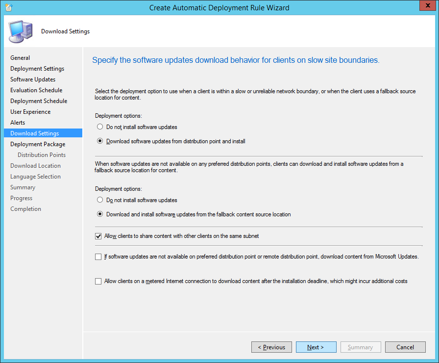 System Center 2012 R2 Configuration Manager - Create Automatic Deployment Rule Wizard - Endpoint Protection - Download Settings