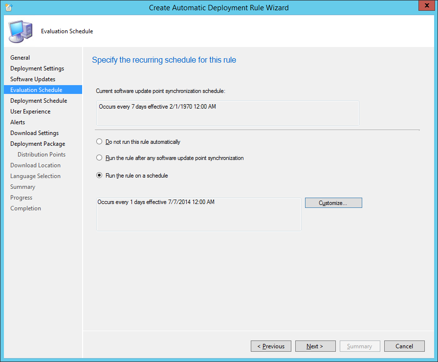 System Center 2012 R2 Configuration Manager - Create Automatic Deployment Rule Wizard - Endpoint Protection - Evaluation Schedule