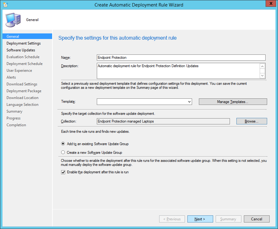 System Center 2012 R2 Configuration Manager - Create Automatic Deployment Rule Wizard - Endpoint Protection - General - Collection