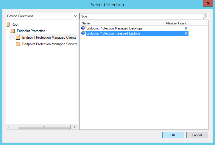 System Center 2012 R2 Configuration Manager - Create Automatic Deployment Rule Wizard - Endpoint Protection - General - Select Collection