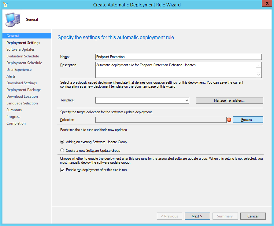 System Center 2012 R2 Configuration Manager - Create Automatic Deployment Rule Wizard - Endpoint Protection - General
