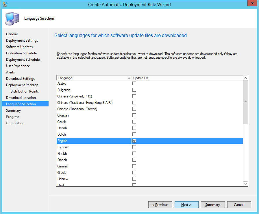 System Center 2012 R2 Configuration Manager - Create Automatic Deployment Rule Wizard - Endpoint Protection - Language Selection