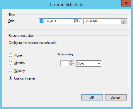 System Center 2012 R2 Configuration Manager - Create Automatic Deployment Rule Wizard - Endpoint Protection - Software Updates - Custom Schedule