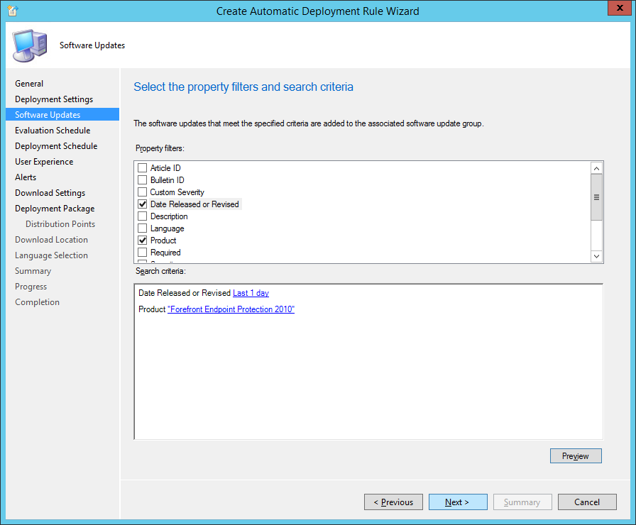System Center 2012 R2 Configuration Manager - Create Automatic Deployment Rule Wizard - Endpoint Protection - Software Updates