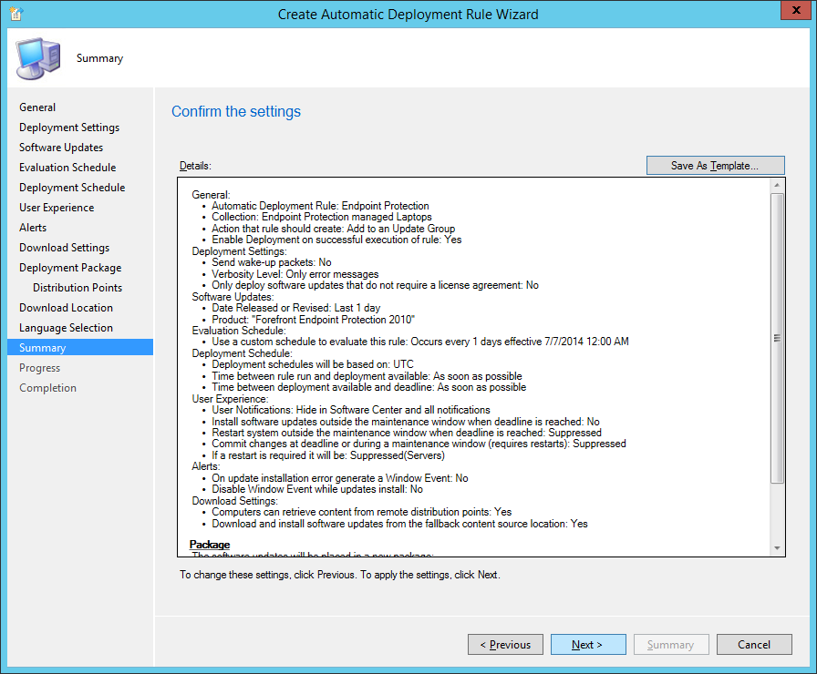 System Center 2012 R2 Configuration Manager - Create Automatic Deployment Rule Wizard - Endpoint Protection - Summary - Next