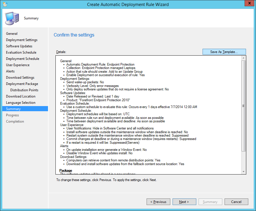 System Center 2012 R2 Configuration Manager - Create Automatic Deployment Rule Wizard - Endpoint Protection - Summary