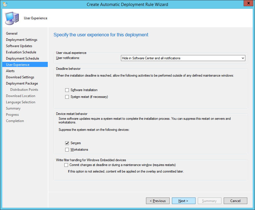 System Center 2012 R2 Configuration Manager - Create Automatic Deployment Rule Wizard - Endpoint Protection - User Experience