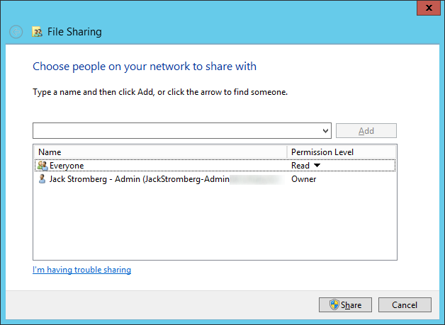 System Center 2012 R2 Configuration Manager - EndpointProtection Folder - Properties - Sharing - Everyone