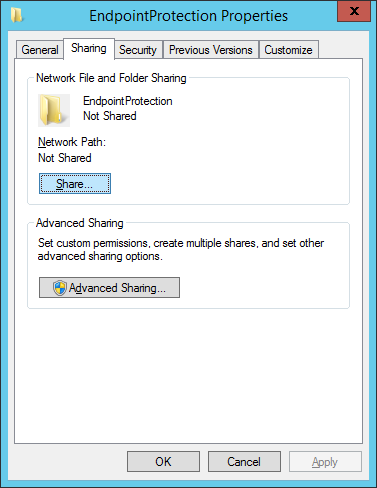 System Center 2012 R2 Configuration Manager - EndpointProtection Folder - Properties - Sharing