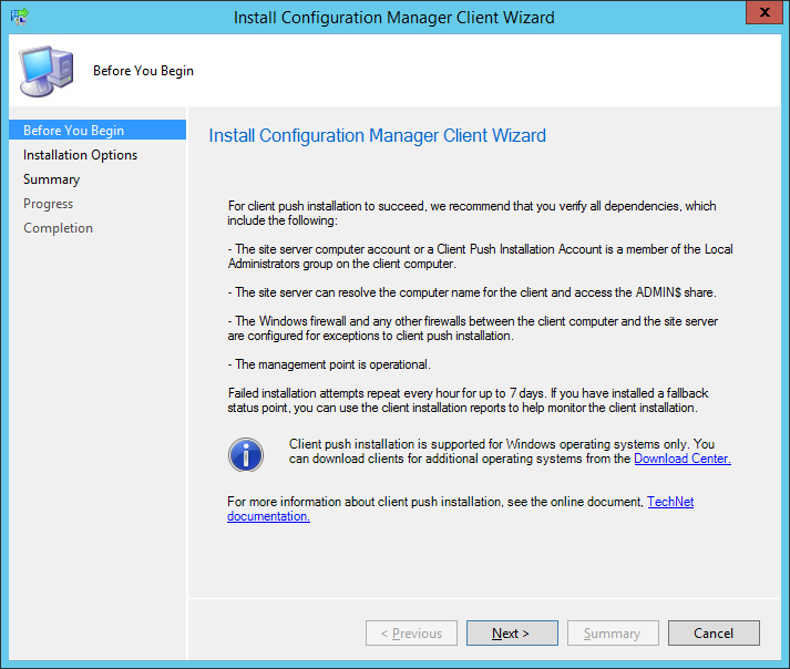 System Center 2012 R2 Configuration Manager - Install Configuration Manager Client Wizard - Before You Begin
