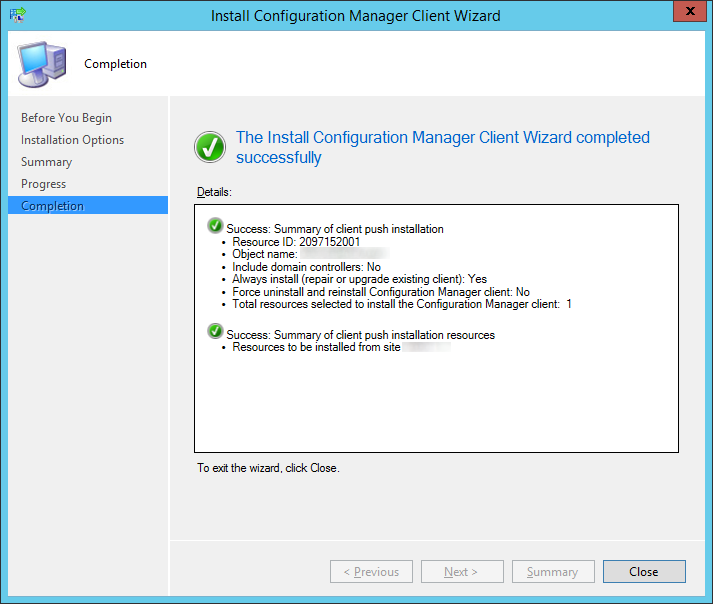System Center 2012 R2 Configuration Manager - Install Configuration Manager Client Wizard - Completion