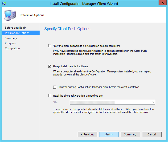 System Center 2012 R2 Configuration Manager - Install Configuration Manager Client Wizard - Installation Options