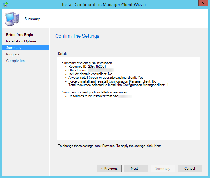 System Center 2012 R2 Configuration Manager - Install Configuration Manager Client Wizard - Summary
