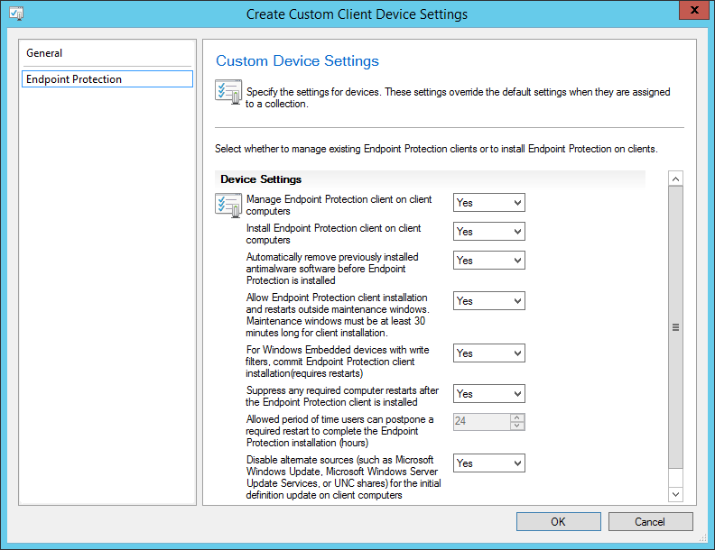 System Center 2012 R2 Configuration Manager - Overview - Client Settings - Create Custom Client Device Settings - Endpoint Protection Tab