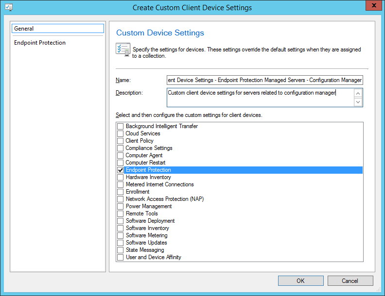 System Center 2012 R2 Configuration Manager - Overview - Client Settings - Create Custom Client Device Settings - General Tab