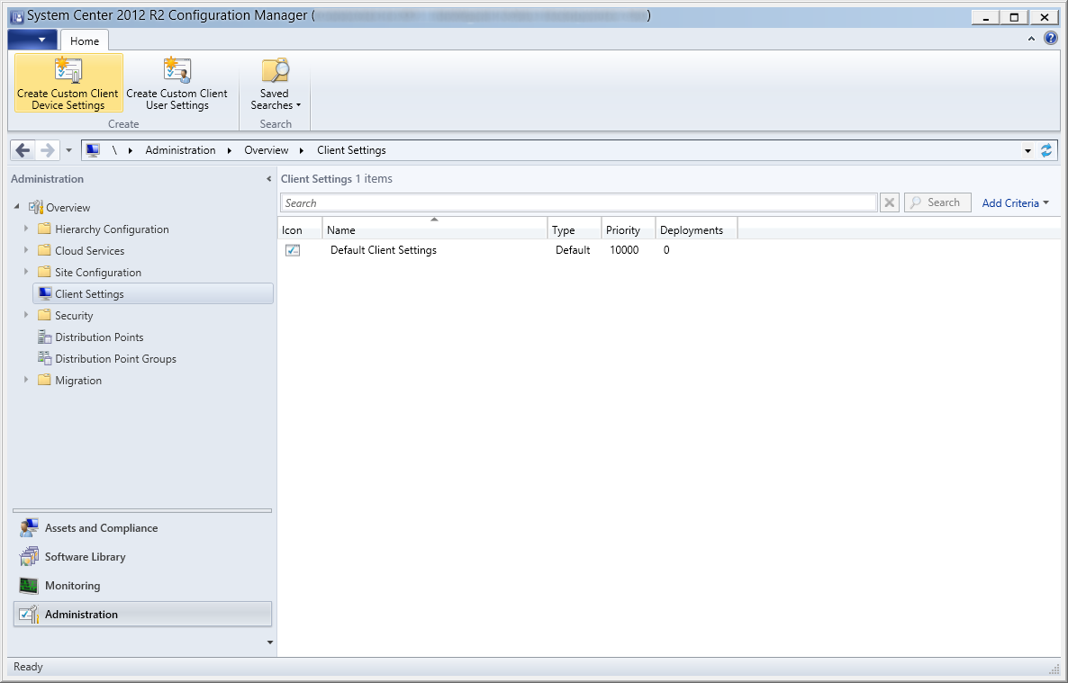 System Center 2012 R2 Configuration Manager - Overview - Client Settings - Create Custom Client Device Settings