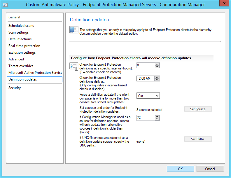 System Center 2012 R2 Configuration Manager - Overview - Endpoint Protection - Antimalware Policies - Create - Definition updates