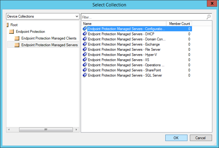 System Center 2012 R2 Configuration Manager - Overview - Endpoint Protection - Antimalware Policies - Deploy - Select Collection