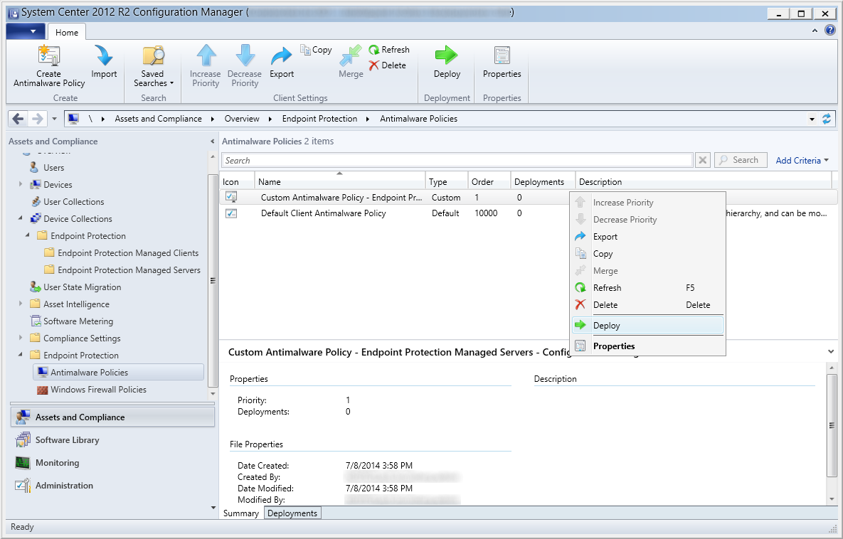 System Center 2012 R2 Configuration Manager - Overview - Endpoint Protection - Antimalware Policies - Deploy