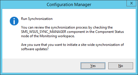 System Center 2012 R2 Configuration Manager - Run Synchronization - check SMS_WSUS_SYNC_MANAGER for component status