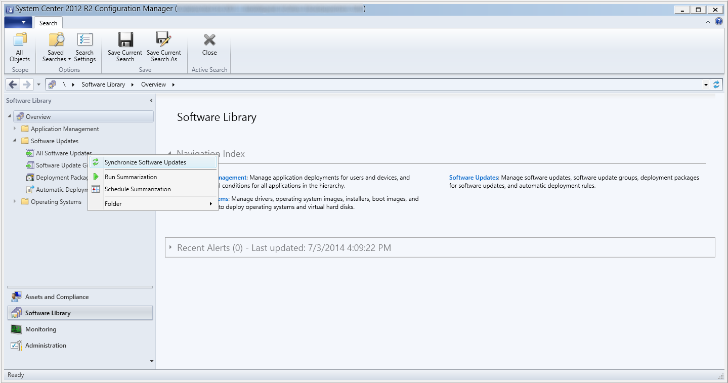 System Center 2012 R2 Configuration Manager - Software Library - Software Updates - All Software Updates - Synchronize Software Updates