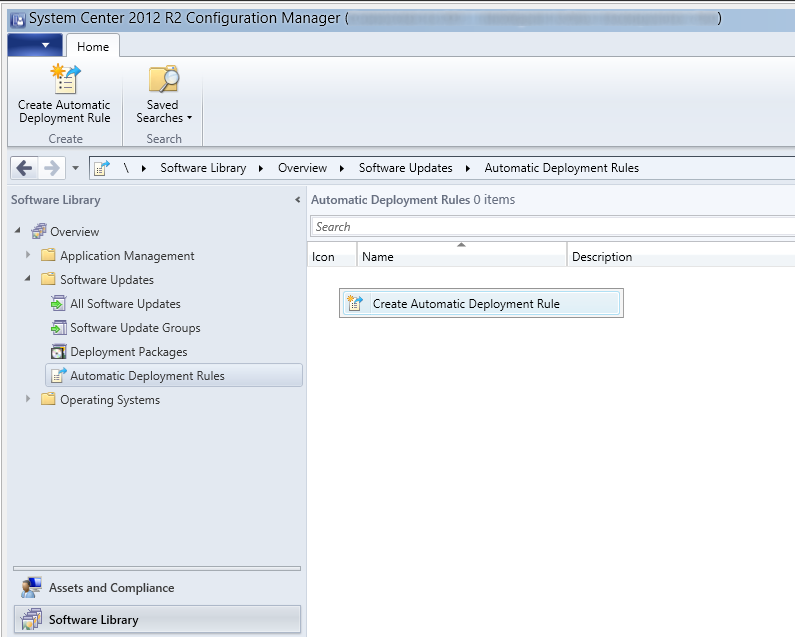 System Center 2012 R2 Configuration Manager - Software Library - Software Updates - Automatic Deployment Rules - Create