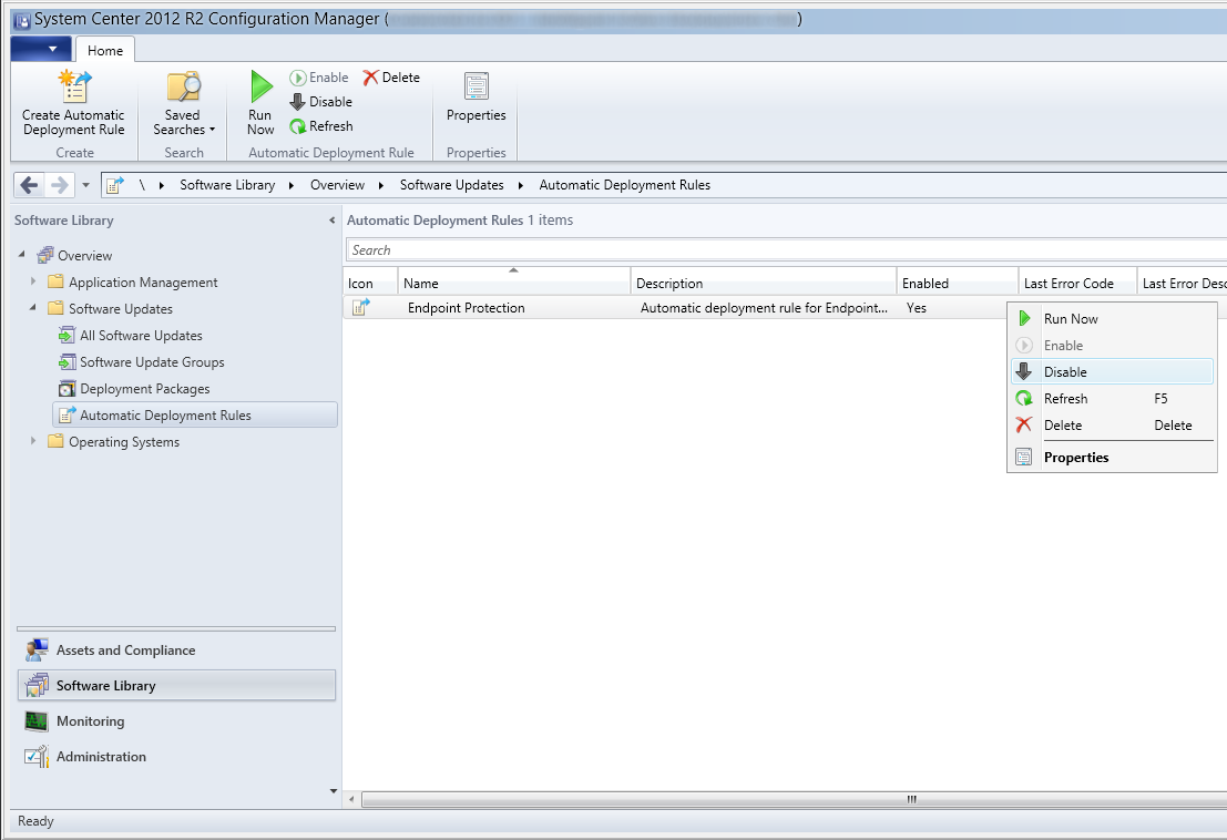 System Center 2012 R2 Configuration Manager - Software Library - Software Updates - Automatic Deployment Rules - Endpoint Protection - Disable