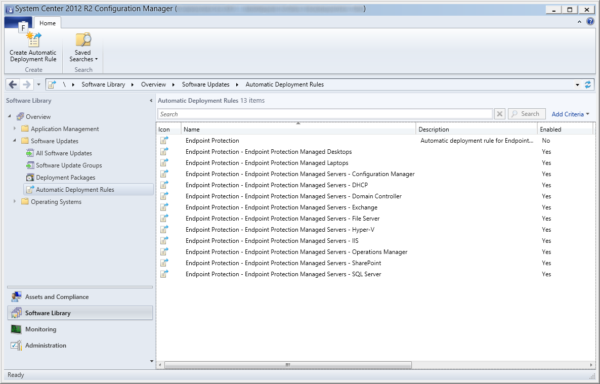 System Center 2012 R2 Configuration Manager - Software Library - Software Updates - Automatic Deployment Rules - Endpoint Protection Rules