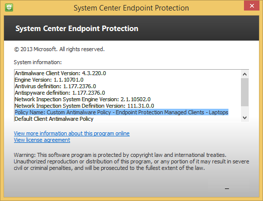 System Center Endpoint Protection Client - About - Custom Antimalware Policy