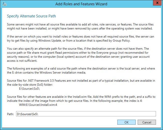 NET Framework 3-5 - Specify an alternate source path - Dialog