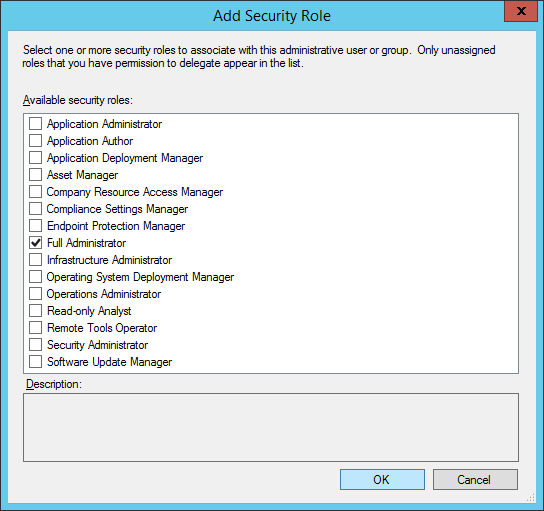 System Center 2012 R2 - Administration - Security - Administrative Users - Add User or Group - Add - Add Security Role