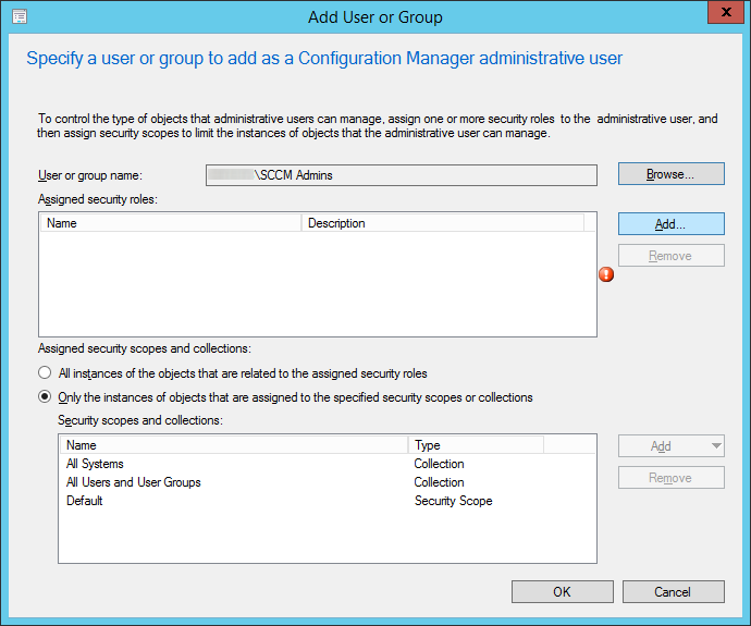 System Center 2012 R2 - Administration - Security - Administrative Users - Add User or Group - Add