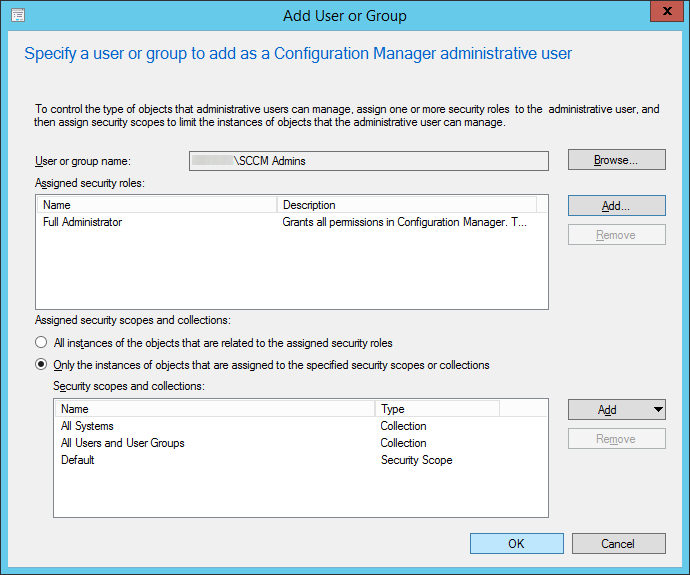 System Center 2012 R2 - Administration - Security - Administrative Users - Add User or Group - Group and Security Roles assigned