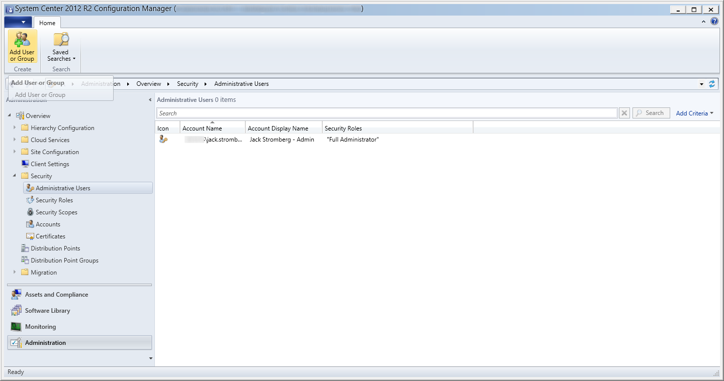 System Center 2012 R2 - Administration - Security - Administrative Users - Add User or Group