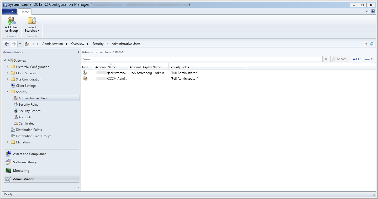 System Center 2012 R2 - Administration - Security - Administrative Users - Security Group and User