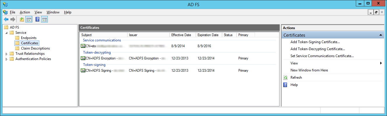 AD FS Management Console - AD FS - Service - Certificates