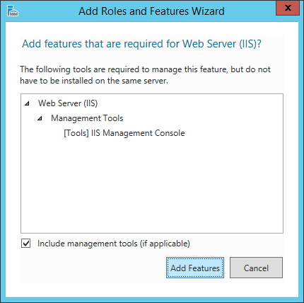 Add Roles and Features Wizard - Add features that are required for web server iis