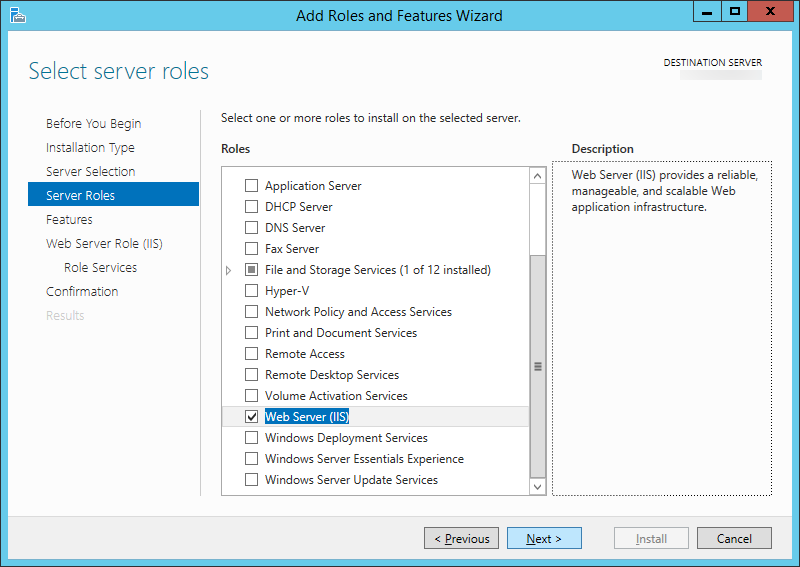 Add Roles and Features Wizard - Server Roles - Web Server IIS