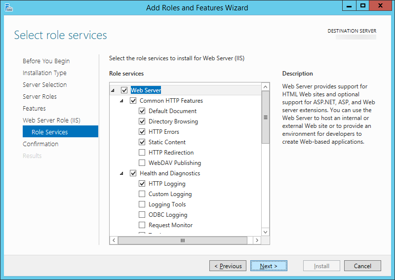 Add Roles and Features Wizard - Web Server Role IIS - Role Services