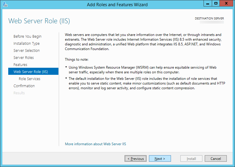 Add Roles and Features Wizard - Web Server Role IIS