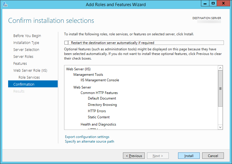 Add Roles and Features Wizard - Web Sever Role - Confirmation
