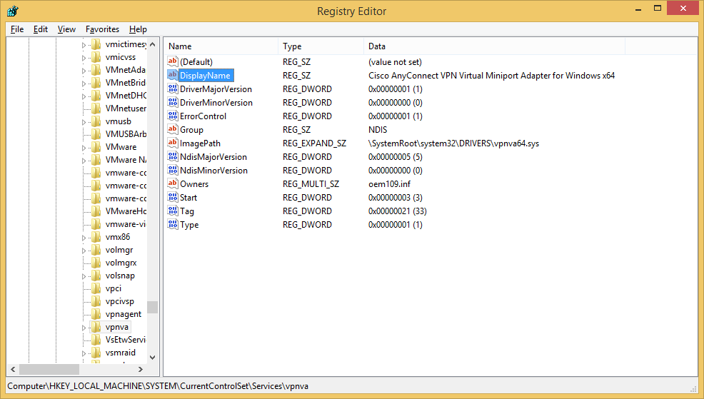HKEY_LOCAL_MACHINE-System-CurrentControlSet-Services-vpnva - DisplayName - Cisco AnyConnect VPN Virtual Miniport Adapter for Windows x64 - regedit